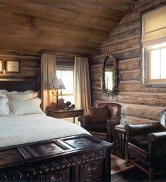 this log cabin bedroom~ LM wood paneling/log cabin look, gorgeous hope chest - rustic romantic cabin - Cozy Cabin Homes, Log Homes, Rustic Romantic Bedroom, Home Bedroom, Bedroom Decor, Master Bedroom, Bedroom Ideas, Bedroom Retreat, Bedroom Plants