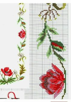 Beaded Cross Stitch, Cross Stitch Borders, Cross Stitch Rose, Cross Stitch Animals, Cross Stitch Flowers, Cross Stitch Designs, Cross Stitch Patterns, Embroidery Stitches, Hand Embroidery