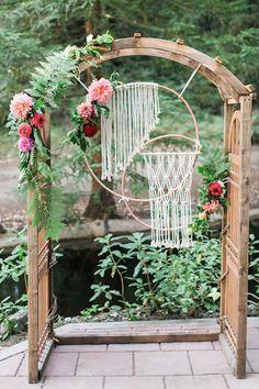 decoração de casamento macramê backdrop