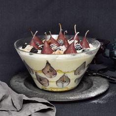 Trifle met stoofperen en amandelcrunch- ELLE Eten