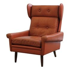 Vintage Tufted Danish Leather Lounge Chair