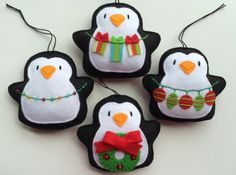 Felt Ornaments Tree Trimming Penquins-Tree di GingerSweetCrafts
