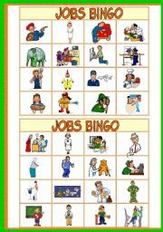 English worksheet: JOBS BINGO Game - 37 jobs - 10 bingo cards - a call sheet - instructions - fully editable