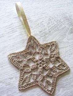 Christmas stars crochet snowflakes star of David set of by NatkaLV