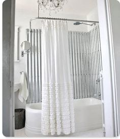 Corregated metal in the bathroom - looking for something like this during our remodel - love it