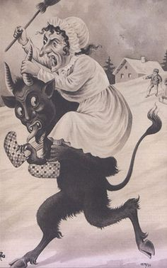 Krampus and a witch?  I'm guessing the lady of the house.
