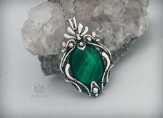 """Купить Серебряная подвеска """"Лесной"""" с малахитом. - зеленый, серебряный кулон подвеска, серебряные украшения 925"""