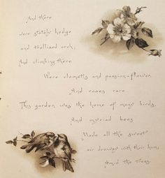 Circa 1890, The Old Garden, poem by Marion Wingrave, Victorian book with prints in 6 charming pages. Measures: 6-1/4 inches X 7 inches. Ribbon binding
