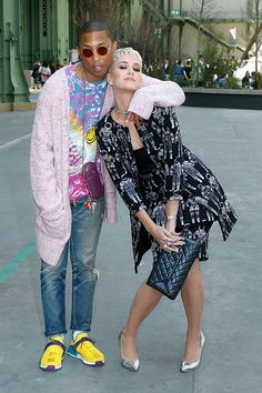 Music artists Katy Perry and Pharrell hit up a Chanel fashion show together  http://celebsip.com/celebrities-have-converged-once-again-to-paris-for-paris-haute-couture-fashion-week-2017/