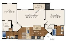"""""""Lear""""  Two Bedroom, Third Floor Only  1195 sq. ft."""