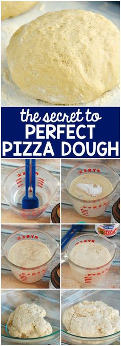The Secret to Excellent Pizza Dough! Simple to comply with step-by-step images that offers you the right pizza dough! Perfect Pizza Dough Recipe, Fluffy Pizza Dough Recipe, Italian Pizza Dough Recipe, Pizza Recipes, Cooking Recipes, Skillet Recipes, Dinner Recipes, Bread Recipes, Cooking Cake