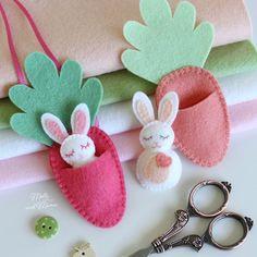 "Mini rabbit with felt carrot sleeping bag,FELT BUNNY PDF pattern - ""Bitty Bunnies"" Easter pattern; Mini bunny with felt carrot sleeping bag ,, bitty bunnies bunny Kids Crafts, Arts And Crafts, Baby Crafts, Crafts With Felt, Fall Felt Crafts, Autumn Crafts, Nature Crafts, Spring Crafts, Holiday Crafts"