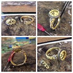 Next steps making the Spessartite garnet cocktail ring Soldering Jewelry, Jewelry Tools, Wire Jewelry, Jewelery, Artisan Jewelry, Handmade Jewelry, Custom Jewelry Design, Jewelry Making Tutorials, Enamel Jewelry