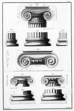 Perhaps the most iconic of all classical orders; the ionic order. Plate XX from 'Le Ruines Plus Beaux des Monuments de la Grace' by Julien David LeRoy (1758).