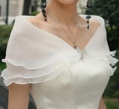 Tulle Layered Shoulder Wrap with Pretty Clasp (several colors)