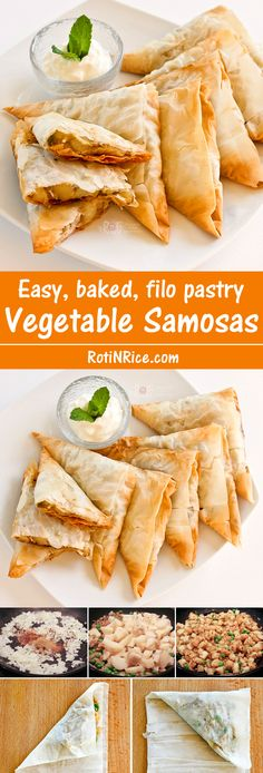 Easy baked Vegetable Samosas using filo pastry and a mildly spiced potato and green peas filling. Great as an afternoon snack or tea time treat. | RotiNRice.com