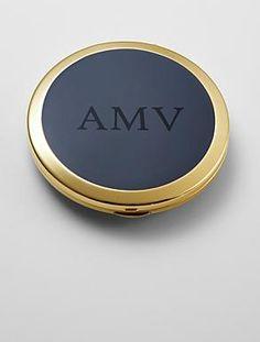personalized enamel purse mirror  - navy - serif font WNB