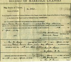 Marriage Record of Easom & Stansell