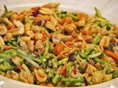 Hawaiian Broccoli Slaw  12 oz broccoli slaw mix, 2-4 TBsp low-fat mayonnaise, 1 TBsp lime juice, 1 TBsp sambal oelek chili paste (available on Amazon), 1 TBsp brown sugar or Splenda brown sugar blend, ½ or more cup crushed pineapple, ⅓ cup dry roasted peanuts, cashews or macadamia nuts