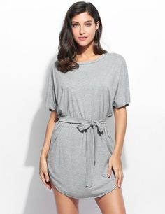 Women 3/4 Batwing Sleeve Round Collar Casual Styles Solid Dress With Belt