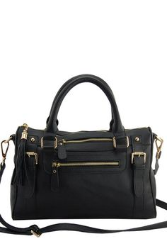 Venteux Satchel by Erica Anenberg on @HauteLook I've been looking for a leather black bag for ages and finally found the style I was looking for! Gold hardware that adds visual interest, but not so blingy that it'll date the bag in a few years.