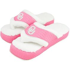 Oklahoma Sooners Ladies Pink-White Flip Flop Slippers