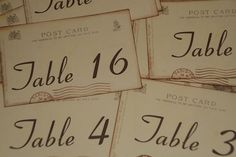 Wedding Table Number Cards - Vintage Paris Postcard Style - Tables 1-20