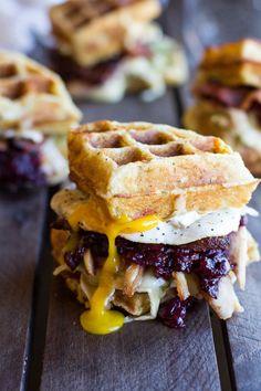Turkey, Smashed Avocado, Cranberry, Brie and Mashed Potato Waffle Melts