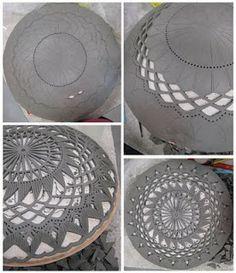 Cerámica recortada tipo crochet #cerámica #decoración #www.resulabrador.com