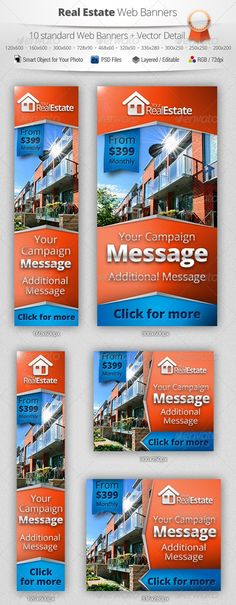 Multipurpose Real Estate Campaign Web Banners. Fully layered and very easy to edit. Unique and professional design. Includes 10 standard web banner sizes.  A full set of web banner templates designed for your Real Estate Campaign.