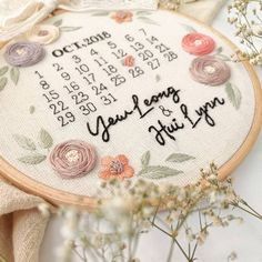 Wedding Embroidery, Basic Embroidery Stitches, Embroidery Flowers Pattern, Hand Embroidery Patterns, Floral Embroidery, Flower Patterns, Personalised Calenders, Diy Broderie, Wedding Crafts