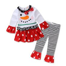 Christmas kids costume baby girls&boys clothing sets cartoon t-shirt+striped pants 2PCS children's casual dress for 2-6Y(China (Mainland))