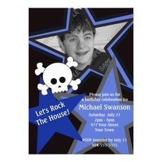 Blue and Black Rock Star Birthday Personalized Announcements