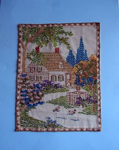 Vintage Hand-Embroidered Cottage Garden Wall Hanging