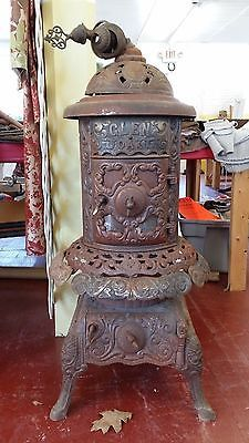 Antique Glen Oak Cast Iron Parlor Coal Stove or Wood Stove Cast Iron Nickel Mica