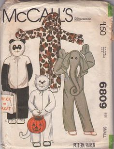 MOMSPatterns Vintage Sewing Patterns - McCall's 6809 Vintage 70's Costume Sewing Pattern CUTE Boys and Girls Cat, Dog, Panda and Elephant Halloween Costumes