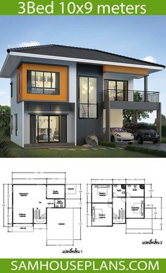 House Plans Idea with 3 Bedrooms - Sam House Plans 2 Storey House Design, Bungalow House Design, Small House Design, Modern House Design, House Plans Mansion, My House Plans, House Floor Plans, New Model House, Model House Plan