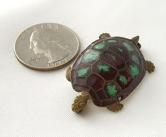 Made in France Vintage Turtle Brooch Pin Trombone Clasp 1930s Enamel Jewelry by BuyVintageJewelry, $48.00