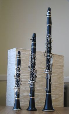 Size comparison among the A♭, E♭, and B♭ clarinets