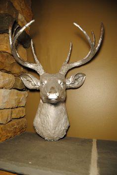 SALE Metallic Silver Deer Head Faux Deer Head by NearAndDeer
