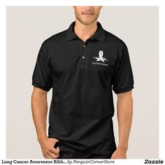 Lung Cancer Awareness Ribbon with Swans Polo Shirt