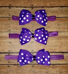 Purple Polka Dot Hair Bow Headband or Hair by SouthernBelleCre2014
