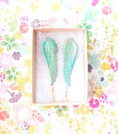 Verdigris Feather Angel Wing Hair Pins  Angel by NestingPretty