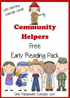 Community Helpers Reading Cards- Cards for Pocket Chart, Copywork handwriting cards and first sounds.