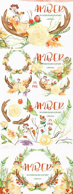 Amber. Fall watercolor clipart. Watercolor Flowers. $12.00