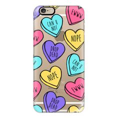 iPhone 6 Plus/6/5/5s/5c Case - Bitter Sweet Candy Hearts ($40) ❤ liked on Polyvore featuring accessories, tech accessories, iphone case, slim iphone case, apple iphone cases and iphone cover case