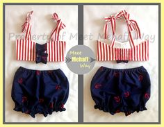 Marilyn--Infant/Toddler Girls Retro Anchor Swimsuit Costume--8 sizes available on Etsy, $40.00