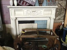 Ornate Painted Mantel w/Ionic Column Detail