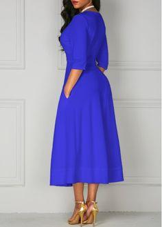 High Waist V Neck Half Sleeve Dress on sale only US$35.37 now, buy cheap High Waist V Neck Half Sleeve Dress at liligal.com