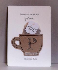 Teekuppi synttärikortti / tea cup birthday card - by Tiia Lehto